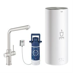 GROHE Red Duo Armatur og 5,5 L kedel Rustfrit stål